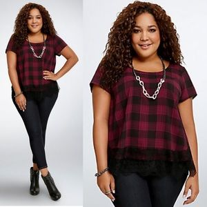 Torrid Plaid Tulip Back Blouse Size 3X Top